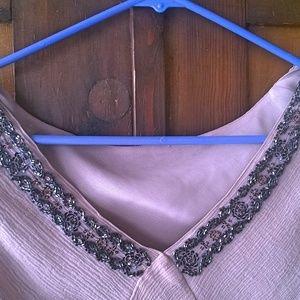 Newport News Tops - Dusty Rose Beaded Silk Top